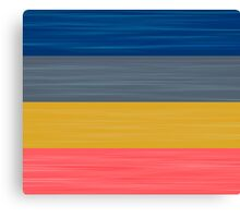 Brush Stroke Stripes: Blue, Grey, Gold, and Pink Canvas Print