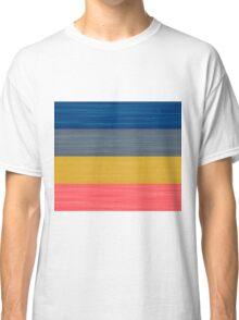 Brush Stroke Stripes: Blue, Grey, Gold, and Pink Classic T-Shirt