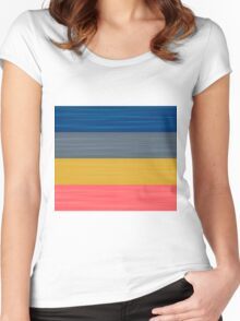 Brush Stroke Stripes: Blue, Grey, Gold, and Pink Women's Fitted Scoop T-Shirt
