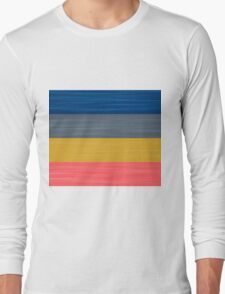 Brush Stroke Stripes: Blue, Grey, Gold, and Pink Long Sleeve T-Shirt