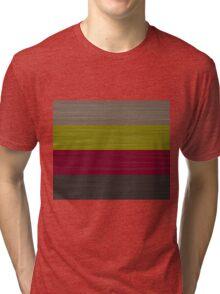 Brush Stroke Stripes: Taupe, Green, Burgundy, and Grey Tri-blend T-Shirt