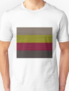 Brush Stroke Stripes: Taupe, Green, Burgundy, and Grey T-Shirt