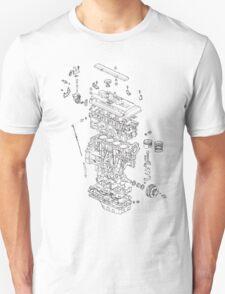 Honda B Series Engine Exploded Blueprint T-Shirt