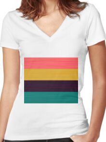 Brush Stroke Stripes: Pink, Gold, Deep Purple, and Turquoise Women's Fitted V-Neck T-Shirt