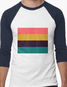 Brush Stroke Stripes: Pink, Gold, Deep Purple, and Turquoise Men's Baseball ¾ T-Shirt