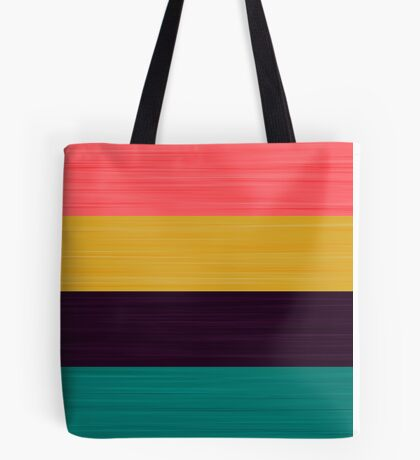 Brush Stroke Stripes: Pink, Gold, Deep Purple, and Turquoise Tote Bag