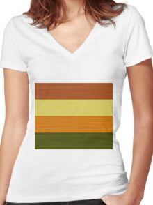 Brush Stroke Stripes: Fall Foliage Women's Fitted V-Neck T-Shirt