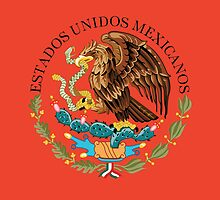 Close up of seal in the national flag of Mexico by Bruce Stanfield
