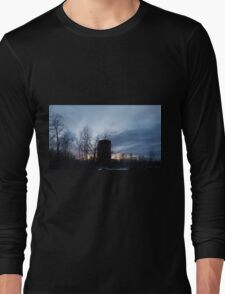 HDR Composite - Backlit Sunset Trees and Abandoned Silo Long Sleeve T-Shirt