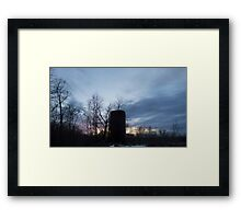 HDR Composite - Backlit Sunset Trees and Abandoned Silo Framed Print