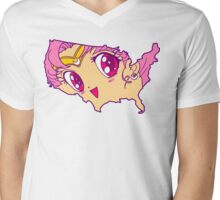 Chibi USA Mens V-Neck T-Shirt