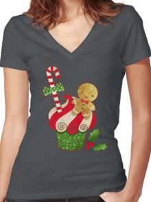 Christmas Cupcake Women's Fitted V-Neck T-Shirt