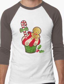 Christmas Cupcake Men's Baseball ¾ T-Shirt