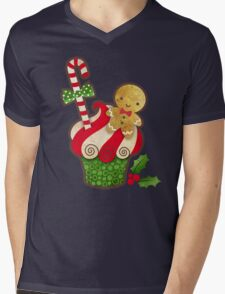 Christmas Cupcake Mens V-Neck T-Shirt