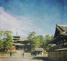 Ancient Temple and Pagoda of Horyu-ji in Nara Japan by Beverly Claire Kaiya