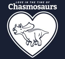 Love in the Time of Chasmosaurs logo: white Kids Clothes