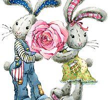 Valentine day. funny bunny by Dobrynina Alena