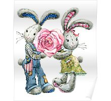 Valentine day. funny bunny Poster