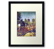 Kawasaki Daishi Five-Storied Pagoda and Bridge Framed Print