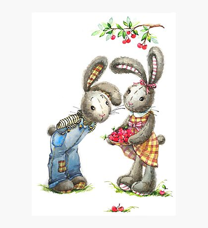 Valentine day. Funny bunny Photographic Print