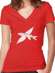 white flying fish Women's Fitted V-Neck T-Shirt
