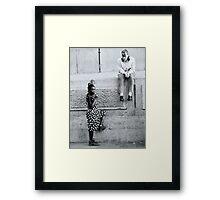 Black and White Teenagers Framed Print