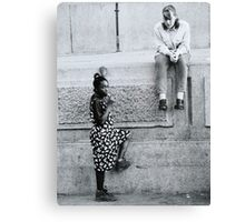 Black and White Teenagers Canvas Print