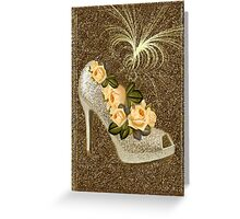 ✰* ★ GOLDEN GLITTER HIGH HEEL WITH ROSES ~♥~˚ ✰* ★ Greeting Card