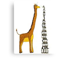 Who is Taller Unicorn Giraffe or Penguin? Canvas Print