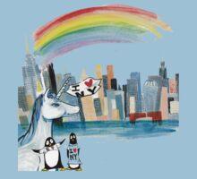 Unicorn and Penguins go to NYC Baby Tee