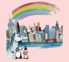 Unicorn and Penguins go to NYC One Piece - Short Sleeve