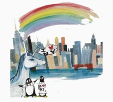 Unicorn and Penguins go to NYC Kids Tee