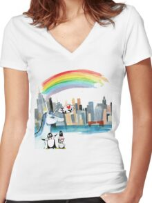 Unicorn and Penguins go to NYC Women's Fitted V-Neck T-Shirt