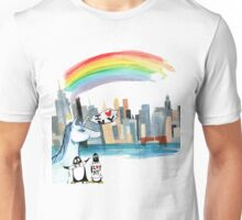 Unicorn and Penguins go to NYC Unisex T-Shirt