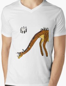 Giraffe Slide Penguins Playing Mens V-Neck T-Shirt