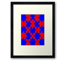 Red and Blue Puzzle Framed Print