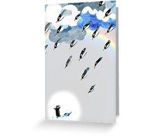 Clouds, Rain, Penguin and Rainbow Greeting Card