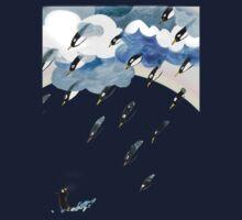 Clouds, Rain, Penguin and Rainbow One Piece - Long Sleeve