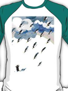 Clouds, Rain, Penguin and Rainbow T-Shirt