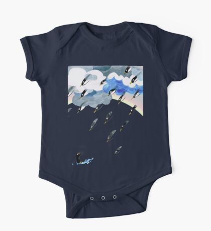 Clouds, Rain, Penguin and Rainbow One Piece - Short Sleeve