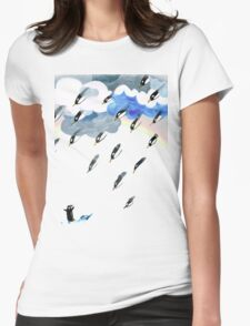 Clouds, Rain, Penguin and Rainbow Womens Fitted T-Shirt