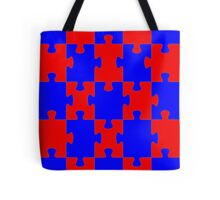 Red and Blue Puzzle Tote Bag