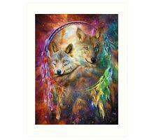 Rainbow Wolf Dreamcatcher Art Print