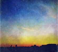 Vintage Textured City Skyline Sunset by Beverly Claire Kaiya