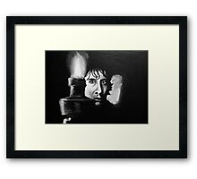 you stay in bed and pretend to be asleep. when he goes for you i'll jump on his back.  Framed Print
