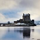 Winter storm, Eilean Donan Castle, Scotland. by Justin Foulkes