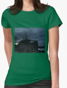 HDR Composite - Cross Lit and Backlit Abandoned Farmstead Womens Fitted T-Shirt