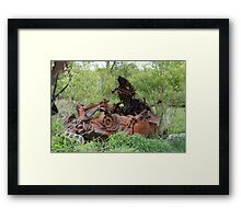HDR Composite - Dead Car Rusting at Abandoned Farmstead Framed Print