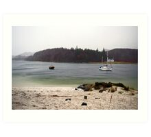 Scottish Loch in the Rain Art Print