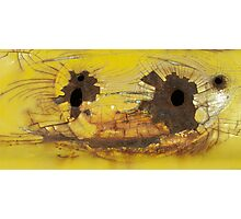 Bullet Holes on Cracked Yellow Photographic Print